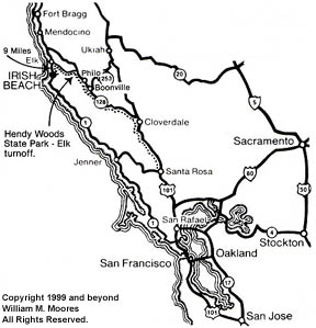 Map of the Elk, California Coastline
